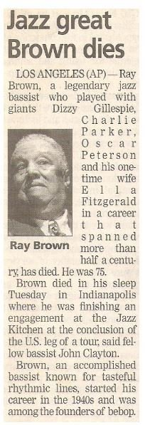 Brown, Ray / Jazz Great Brown Dies | Newspaper Article with Photo | July 2002