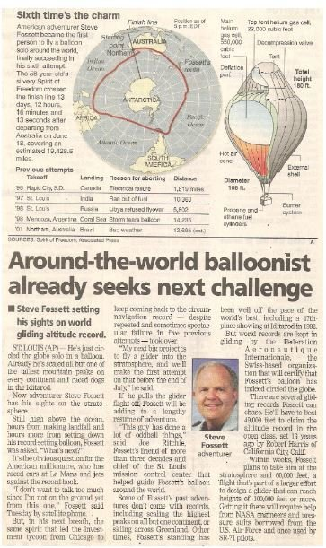 Fossett, Steve / Around-the-World Balloonist Already Seeks Next Challenge | Newspaper Article with Photo | July 2002