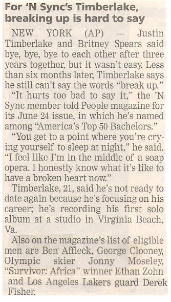 Timberlake, Justin / For NSYNC's Timberlake, Breaking Up is Hard to Say | Newspaper Article | June 2002