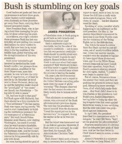 Bush, George W. / Bush Is Stumbling On Key Goals | Newspaper Article | June 2002