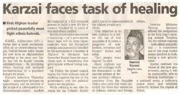 Karzai, Hamid / Karzai Faces Task of Healing | Newspaper Article with Photo | June 2002