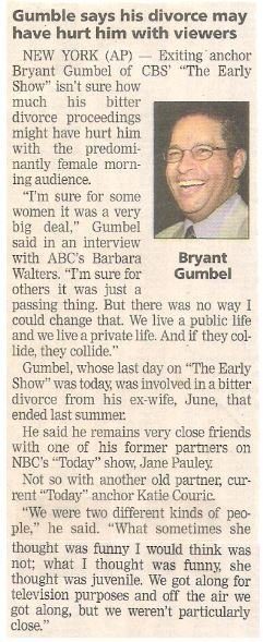 Gumbel, Bryant / Gumbel Says His Divorce May Have Hurt Him with Viewers | Newspaper Article with Photo | May 2002
