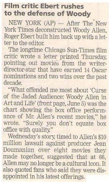 Ebert, Roger / Film Critic Ebert Rushes to the Defense of Woody | Newspaper Article | June 2002