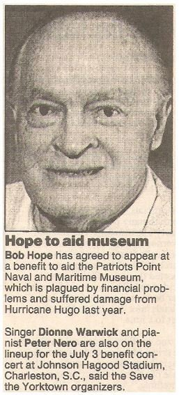 Hope, Bob / Hope to Aid Museum | Newspaper Article with Photo | May 1990