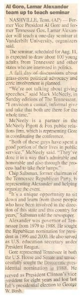 Gore, Al / Al Gore, Lamar Alexander Team Up to Teach Seminar | Newspaper Article | May 2001