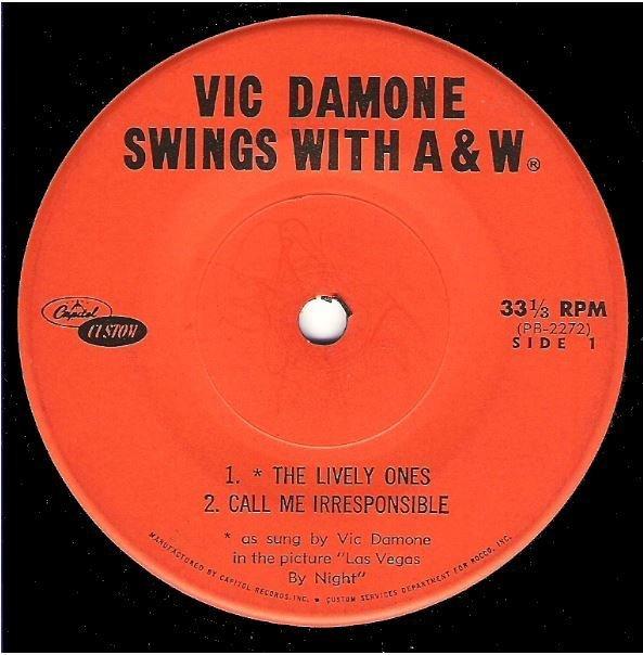"Damone, Vic / Vic Damone Swings with A+W | Capitol Custom PB-2272-3 | EP, 7"" Vinyl | 1963"