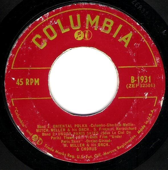 "Miller, Mitch / Oriental Polka + 3 | Columbia B-1931 | EP, 7"" Vinyl | 1953"