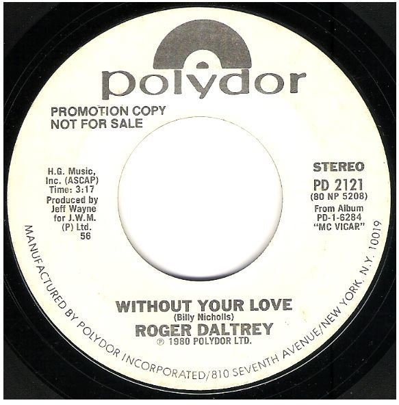"""Daltrey, Roger / Without Your Love 