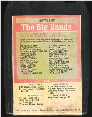 Various Artists / Battle of the Big Bands - Vol. 1 | Bright Orange BO-8720 | Black Shell | 8-Track Tape