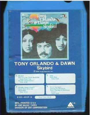 Orlando, Tony (+ Dawn) / Skybird | Arista 8301-4059 H | Blue Shell | 8-Track Tape | 1975