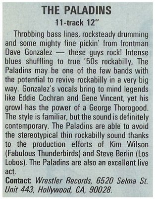 Paladins, The / The Paladins - Wrestler Records   Magazine Review   December 1987