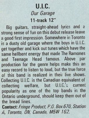 U.I.C. / Our Garage - Fringe Product   Magazine Review   December 1987