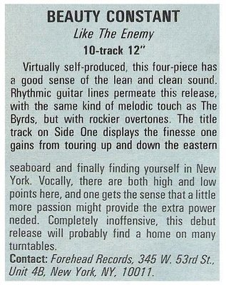 Beauty Constant / Like the Enemy   Magazine Review   December 1987