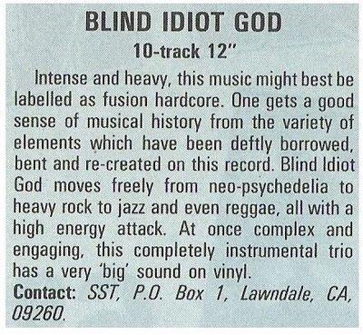 Blind Idiot God / Blind Idiot God   Magazine Review   December 1987