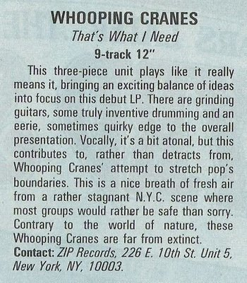 Whooping Cranes / That's What I Need   Magazine Review   December 1987