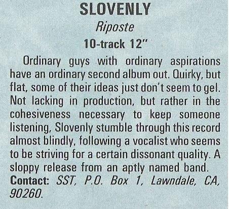 Slovenly / Riposte | Magazine Review | December 1987
