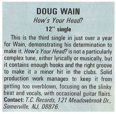 Wain, Doug / How's Your Head? | Magazine Review | December 1987