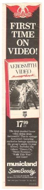 Aerosmith / Video Scrapbook | Magazine Ad | December 1987