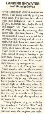 Young, Neil / Landing On Water | Magazine Review | September 1986 | by Jim Farber