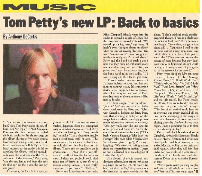 Petty, Tom / Tom Petty's New LP: Back to Basics | Magazine Article | May 1987