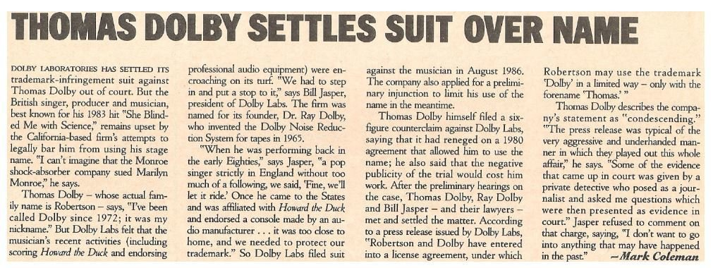 Dolby, Thomas / Thomas Dolby Settles Suit Over Name | Magazine Article | May 1987