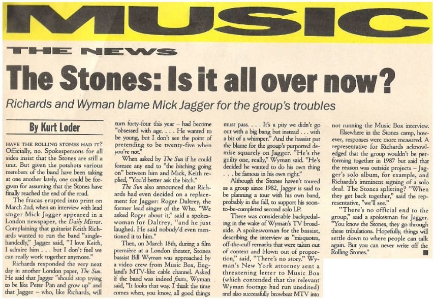Rolling Stones, The / The Stones: Is It All Over Now? | Magazine Article | May 1987