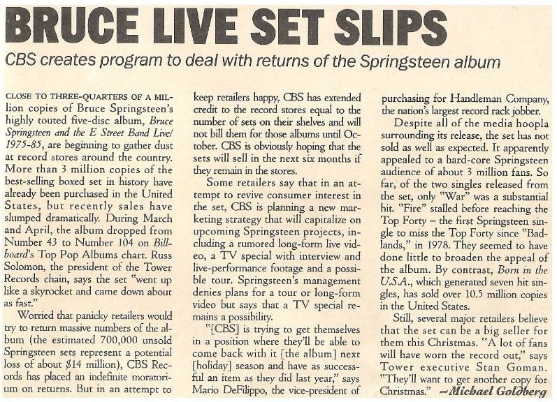 Springsteen, Bruce / Bruce Live Set Slips | Magazine Article | May 1987