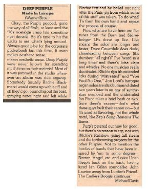 Deep Purple / Made In Europe   Magazine Review   March 1977   by Michael Davis
