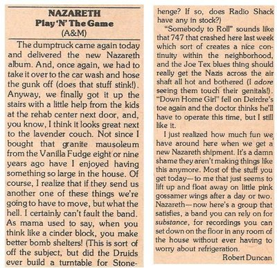 Nazareth / Play 'N' the Game | Magazine Review | March 1977 | by Robert Duncan