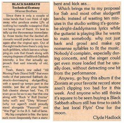 Black Sabbath / Technical Ecstasy   Magazine Review   March 1977   by Clyde Hadlock