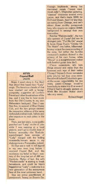Styx / Crystal Ball | Magazine Review | March 1977 | by Richard Riegel
