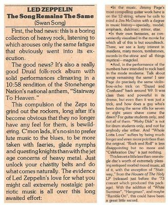 Led Zeppelin / The Song Remains the Same | Magazine Review | March 1977