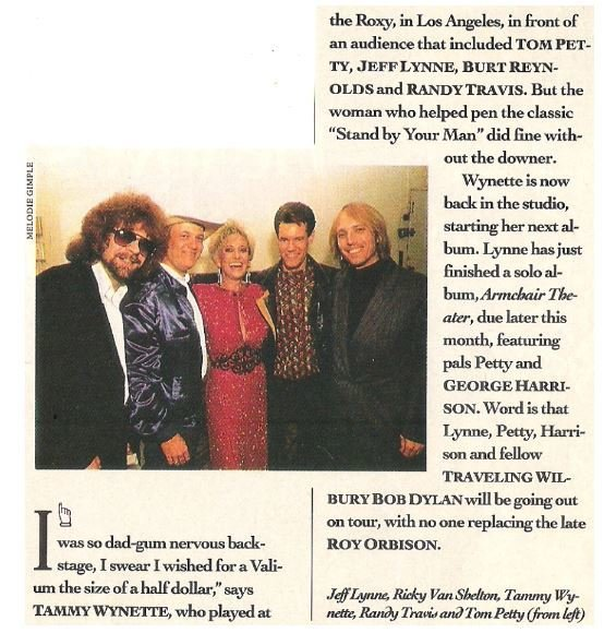 Wynette, Tammy / The Roxy, Los Angeles, Backstage | Magazine Article | May 1990 | with Jeff Lynne, Ricky Van Shelton, Randy Travis, Tom Petty