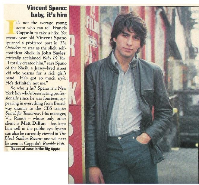 Spano, Vincent / Vincent Spano: Baby, It's Him | Magazine Article | May 1983