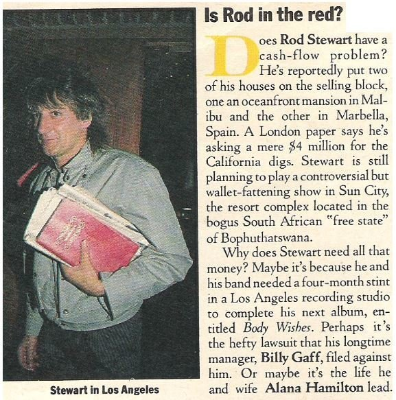 Stewart, Rod / Is Rod in the Red? | Magazine Article | May 1983