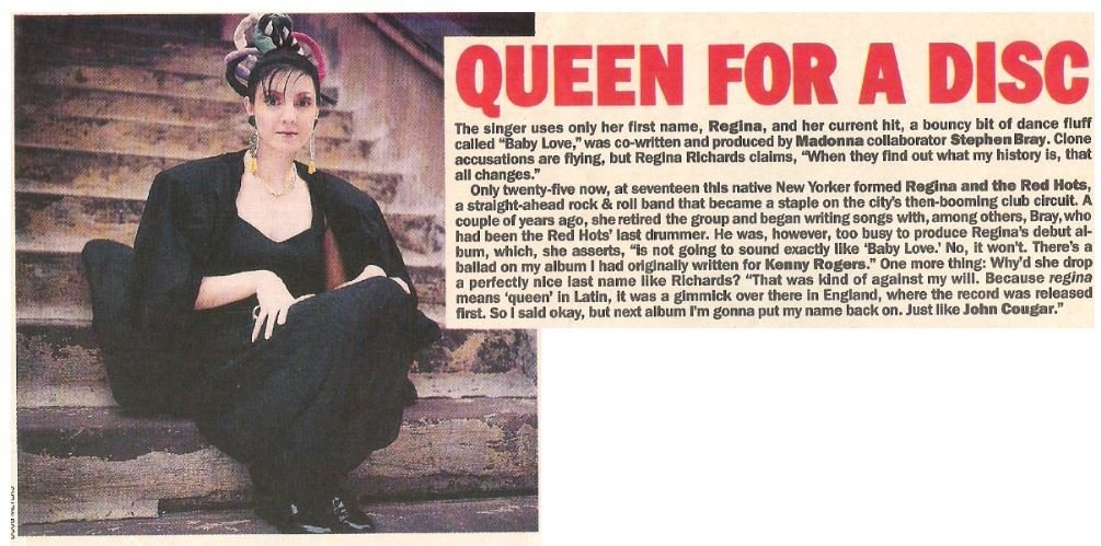 Regina / Queen For a Disc | Magazine Article | May 1983