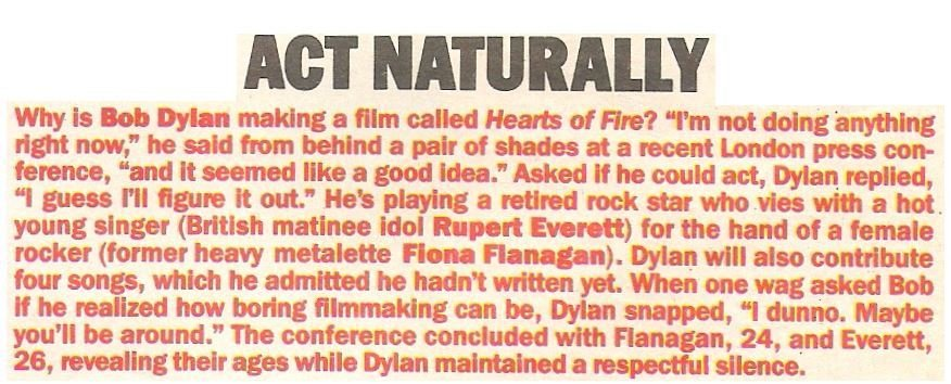 Dylan, Bob / Act Naturally | Magazine Article | May 1983