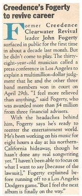 Fogerty, John / Creedence's Fogerty to Revive Career | Magazine Article | July 1983