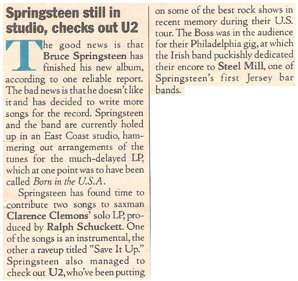 Springsteen, Bruce / Springsteen Still in Studio, Checks Out U2 | Magazine Article | July 1983