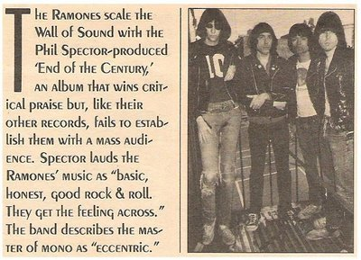 Ramones, The / Scale the Wall of Sound - End of the Century | Magazine Article | January 1980