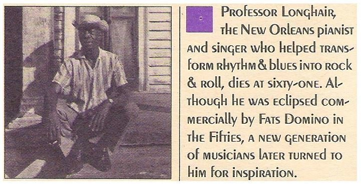Professor Longhair / Obituary - Rolling Stone | Magazine Article | January 1980