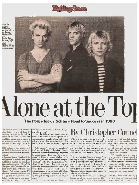 Police, The / Alone at the Top | Magazine Article | March 1984