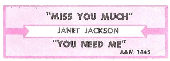 Jackson, Janet / Miss You Much | A+M 1445 | Jukebox Title Strip | August 1989
