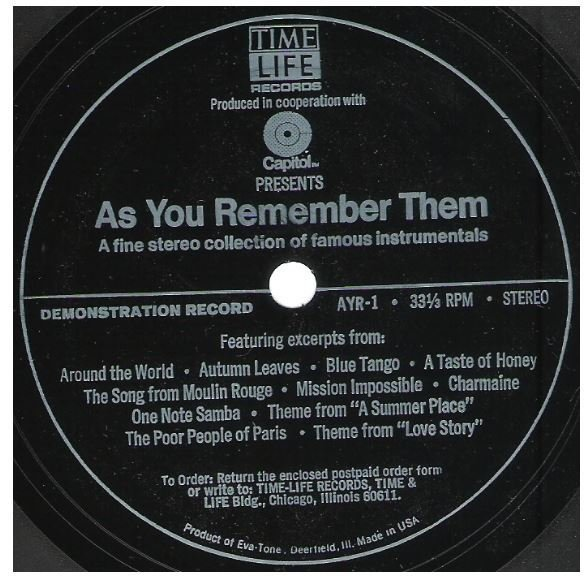 Uncredited Artists / As You Remember Them | Time Life/Eva-Tone AYR-1 | Flexi-Disc | 1973