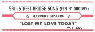 Harpers Bizarre / 59th Street Bridge Song | Warner Bros. 5890 | Jukebox Title Strip | January 1967