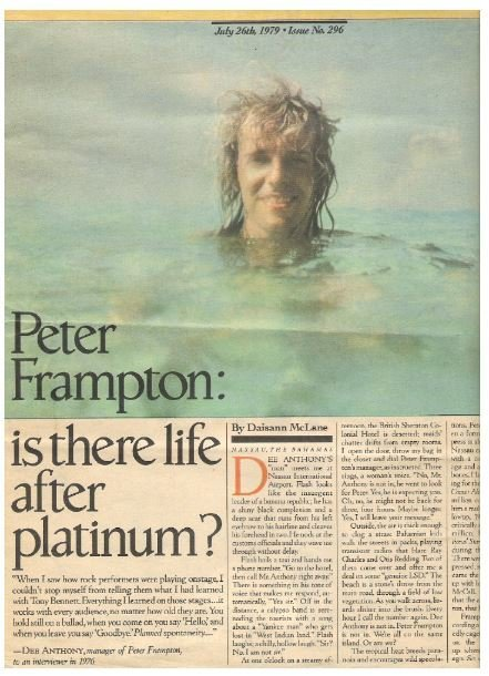 Frampton, Peter / Is There Life After Platinum? | Magazine Article | July 1979 | Part 1