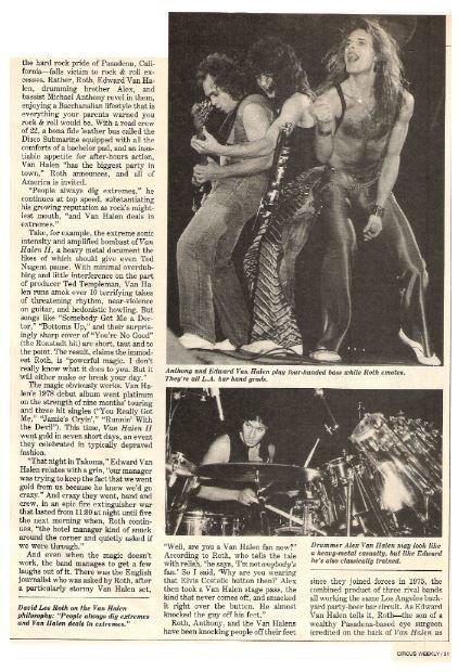 Van Halen / Circus Weekly | Magazine Article | 1979 | Part 2