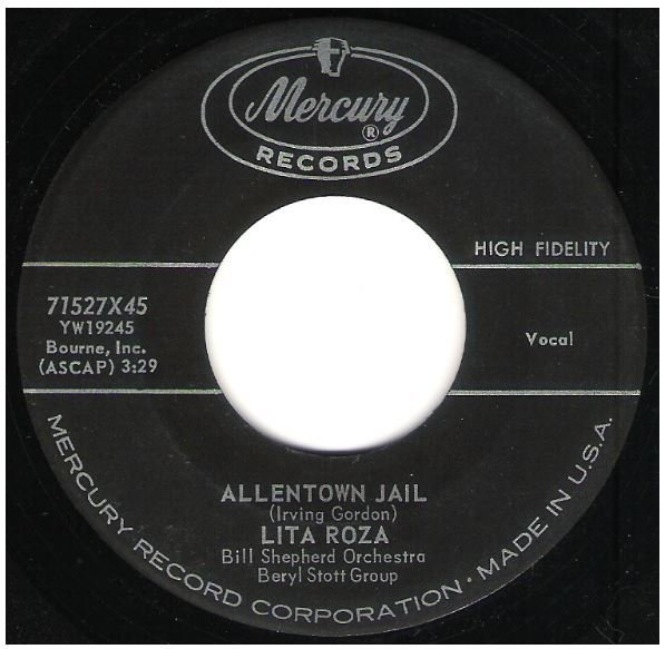 "Roza, Lita / Allentown Jail | Mercury 71527 | Single, 7"" Vinyl 