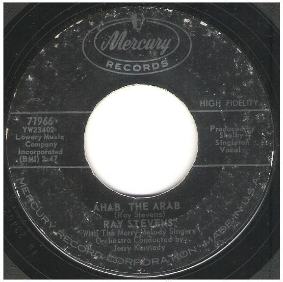 "Stevens, Ray / Ahab, the Arab   Mercury 71966   Single, 7"" Vinyl   June 1962"