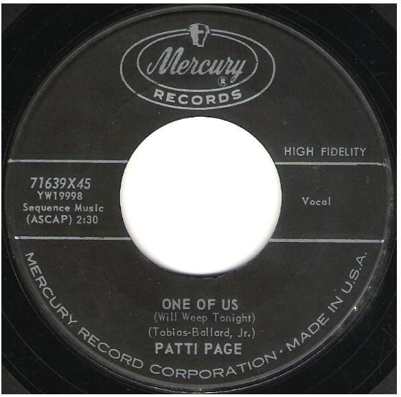 "Page, Patti / One of Us (Will Weep Tonight) | Mercury 71639 | Single, 7"" Vinyl 